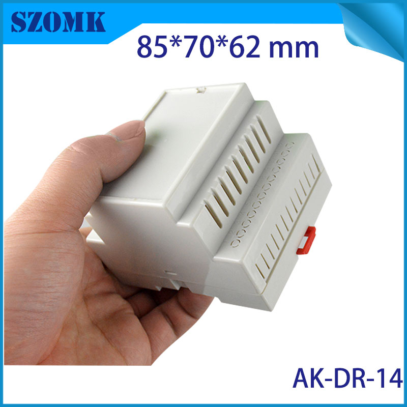 one piece plastic box electronic pcb housing case humidity electronics case din rail enclossure distribution box instrument 1 piece distribution box plastic box electronics wall mount abs din rail case control box 145x90x40mm