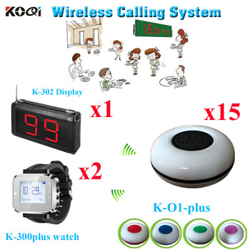 Restaurant Guest Paging System Newest Arrival Voice Pager Equipment ( 1pcs display with 2pcs watch and 15pcs call buzzer)