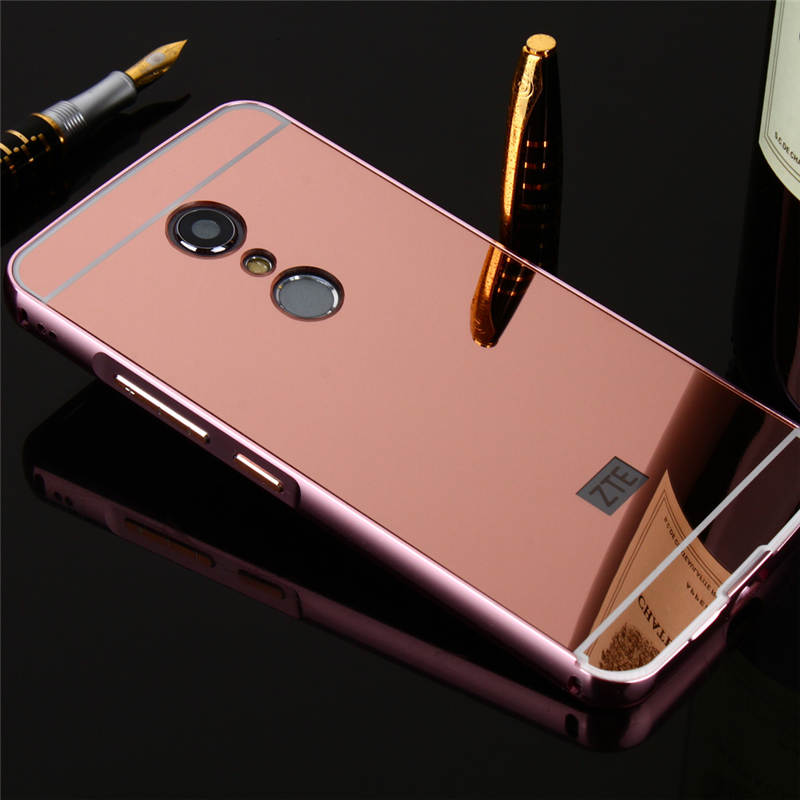 New For ZTE Axon 7 Case Luxury Protective Gold Aluminum Mirror Back Cover Phone AXON A2017 5.5 coque Fundas