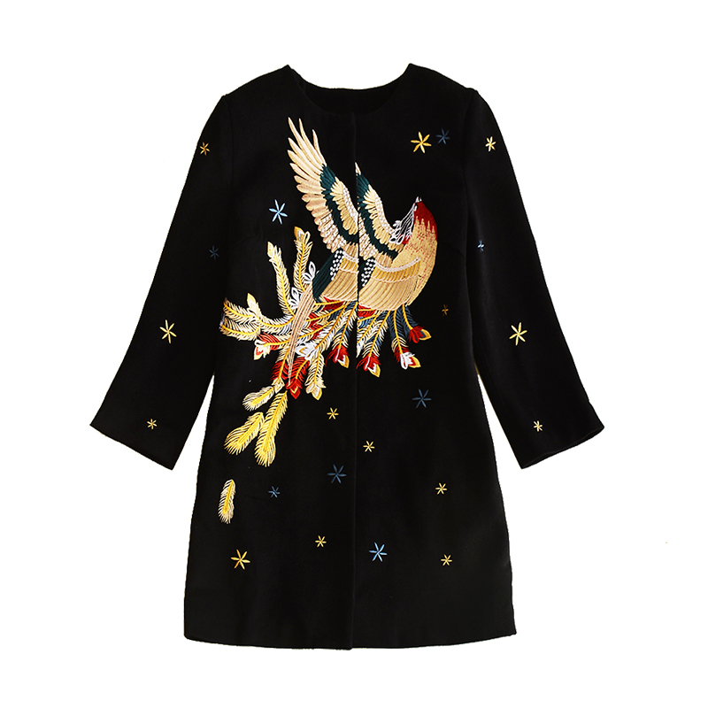 En Taille Femmes Phoenix 2017 Noire Dhl Manteaux Mode Brodé Designer Plus La Pardessus Col Survêtement O D'hiver Piste Laine Livraison qYXqva