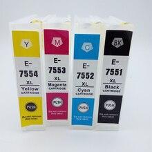 Vilaxh T7551 New Empty Refillable Cartridge 4pcs Fits For Epson Workforce Pro WF-8010 WF-8090 WF-8510 WF-8590 Printer