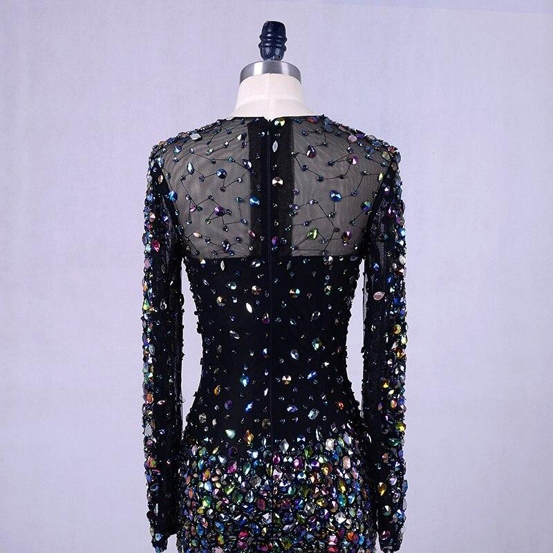 Crna večernja haljina s kristalima 2019 Abendkleider perje Bling - Haljina za posebne prigode - Foto 5