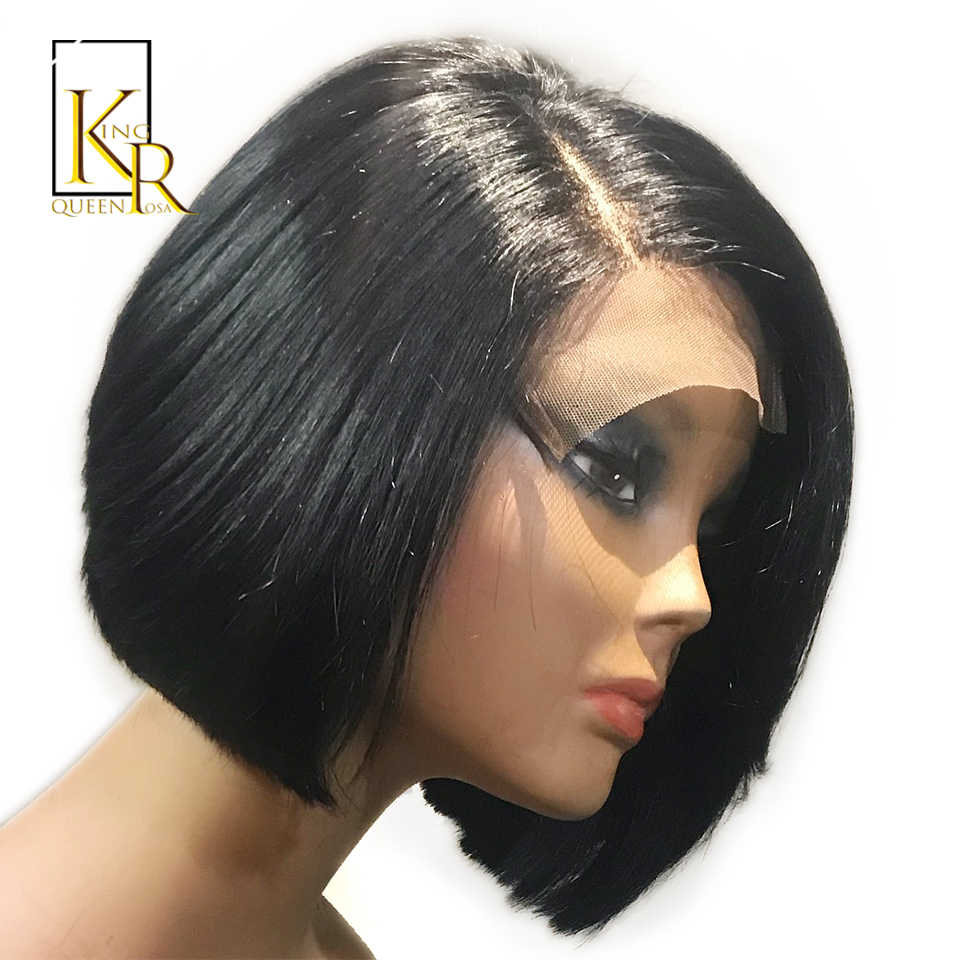 150% Density Short Bob Wig Brazilian Remy Hair 4X4 Lace Wig Straight Lace Front Human Hair Wigs For Black Women King Rosa Queen