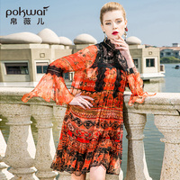 POKWAI Vintage Print Women Summer Midi Silk Dress 2018 Fashion High Quality Long Flare Sleeve Lace Patchwork Straight Dresses