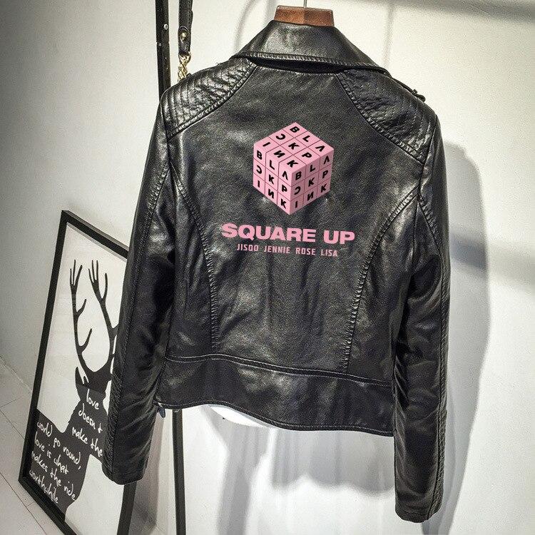 Frdun Tommy BLACKPINK PU veste en cuir femmes nouvelle mode couleur Zipper veste d'extérieur nouveau 2018 hiver et automne manteau chaud
