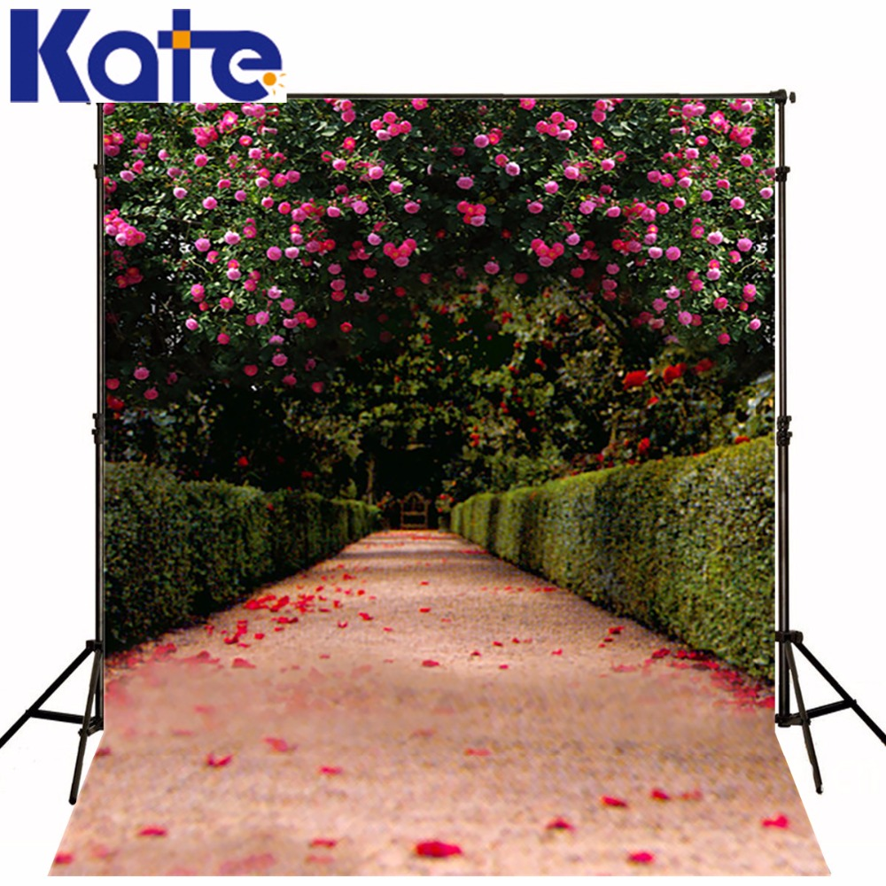 KATE 5x7ft Red Rose Wedding Photography Background Shade Trail Pink Petal Backdrops Spring Background For Children Photo Studio