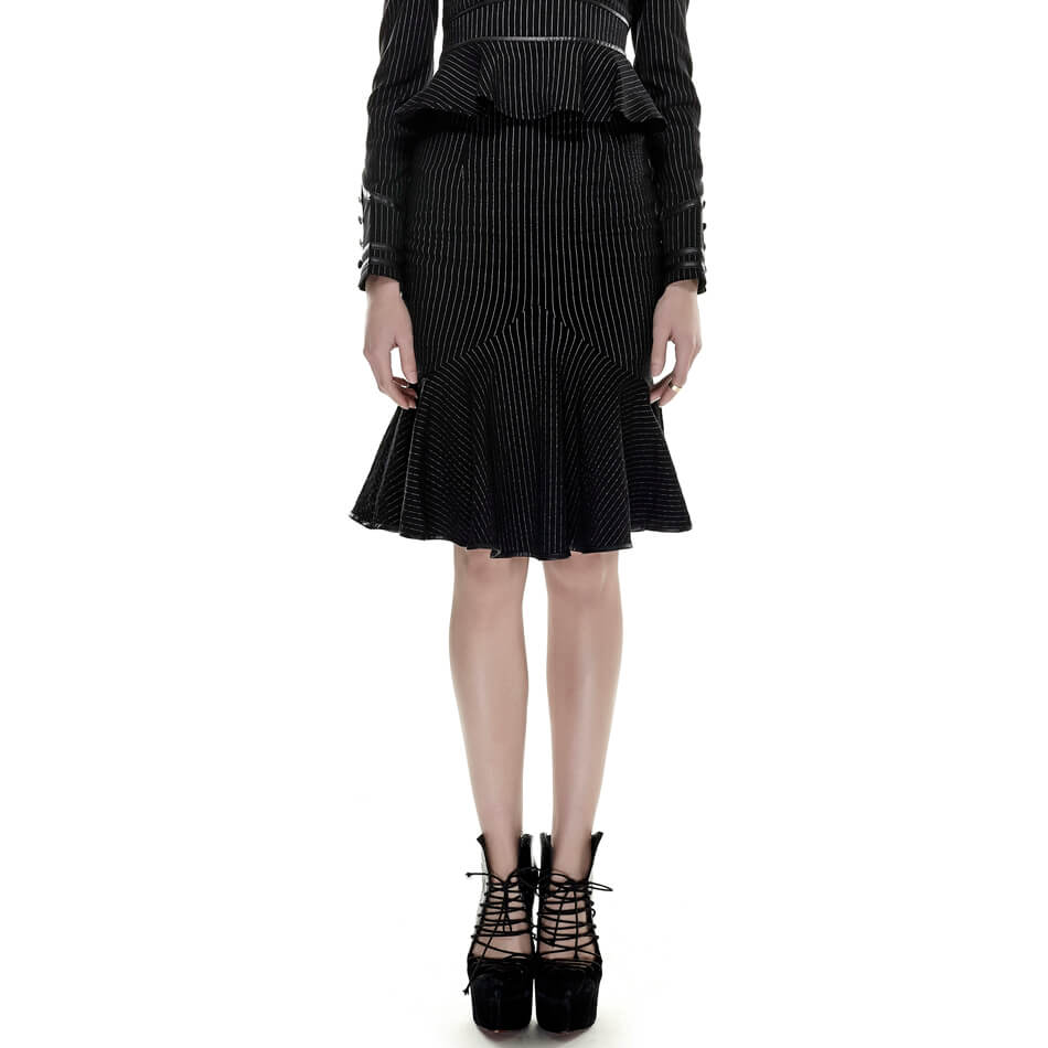 Fishtail skirts womens military slim uniform skirt kilt suit Black Striped Drawstring Punk faldas mujer moda