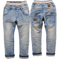 3552 3-4 YEARS soft  skinny boy  girl  jeans  light  blue  not  fade  kids spring  new solid  trousers pants children's trousers