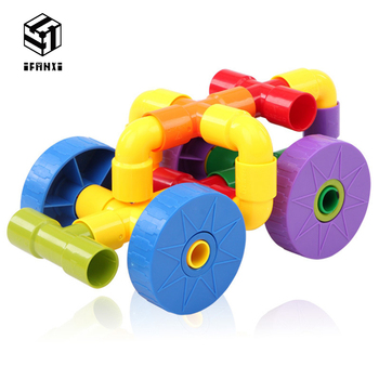 72 PCS Plastic Insert Assembling Type Children Assembling Educational Toys Water Pipe Colorful Plug Match Building Blocks фото