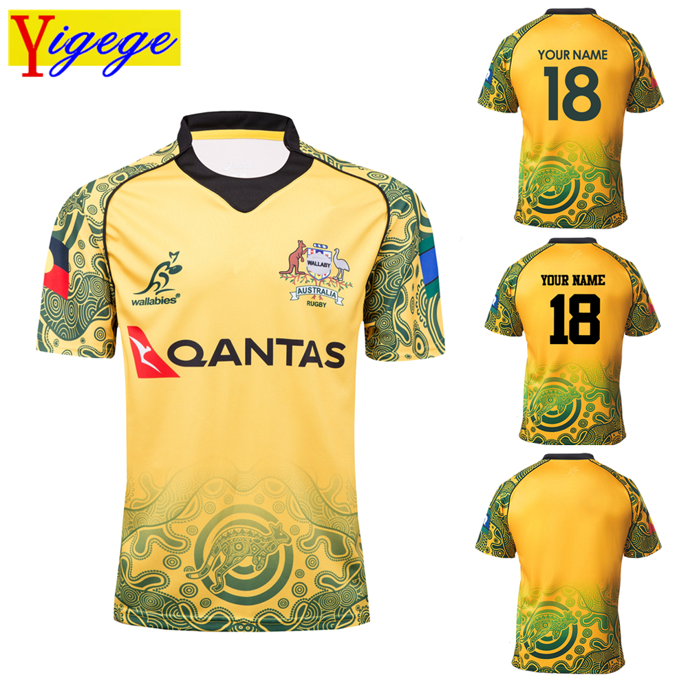 Custom names and numbers 2018 AUSTRALIA WALLABIES indigenous JERSEY Australian rugby Jersey League shirt s 3xl AAA
