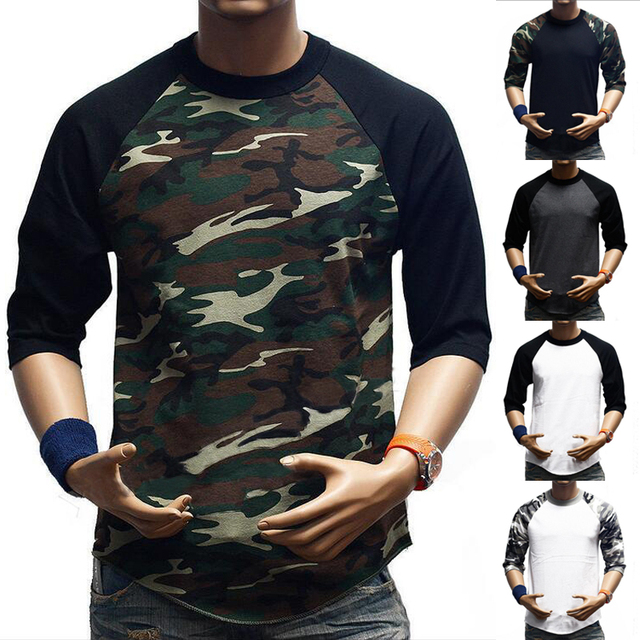 ef304bea New Men's 3/4 Sleeve Camouflage Baseball T-Shirt Raglan Plain Camo Tee  Men's Casual T Shirt S-3XL