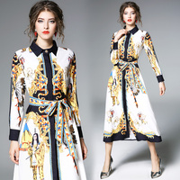 2019 New Women Spring Autumn Long Sleeve Dress High Quality Retro Court Printing Shirt Runway Dress Vintage Long Dress M 2XL
