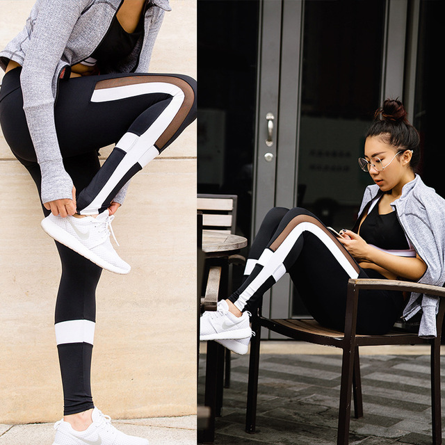 Black and white gauze female sports pants tight running fitness yoga breathable cool cross Trainning & Exercise Pants