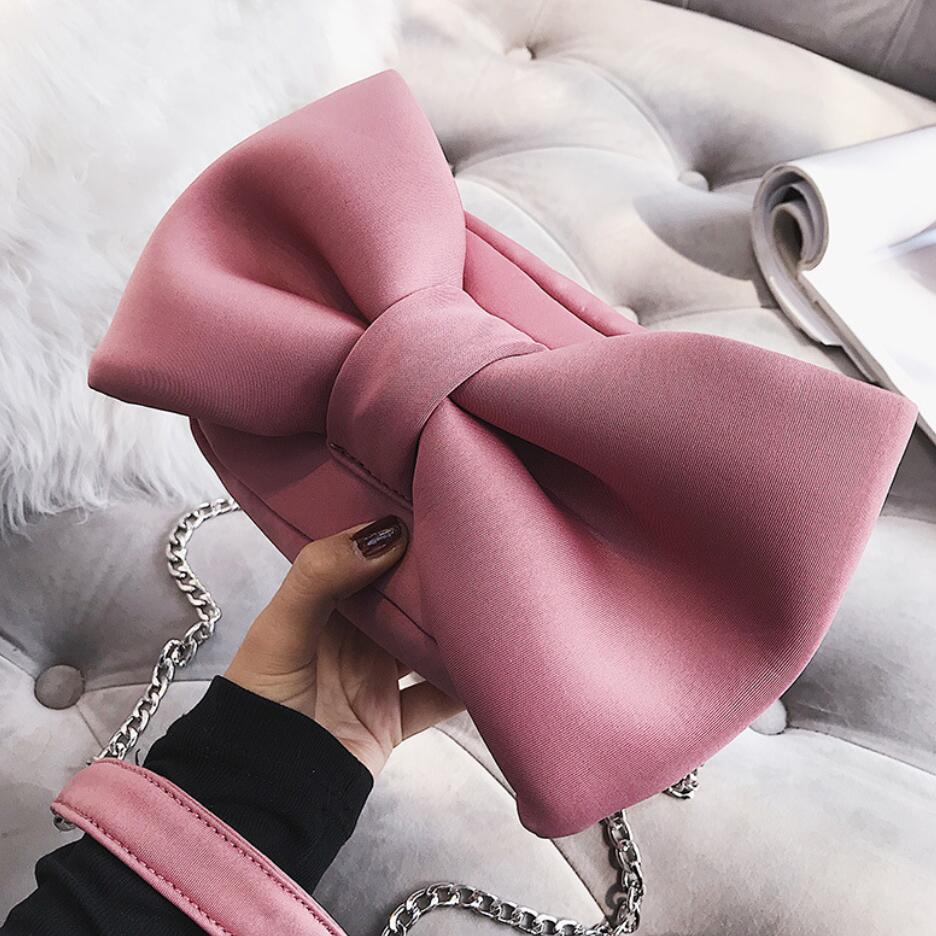 Clutch Hand-Bag Crossbody-Bags Bow-Chain Velvet Shoulder Designer Korean Fashion Women's