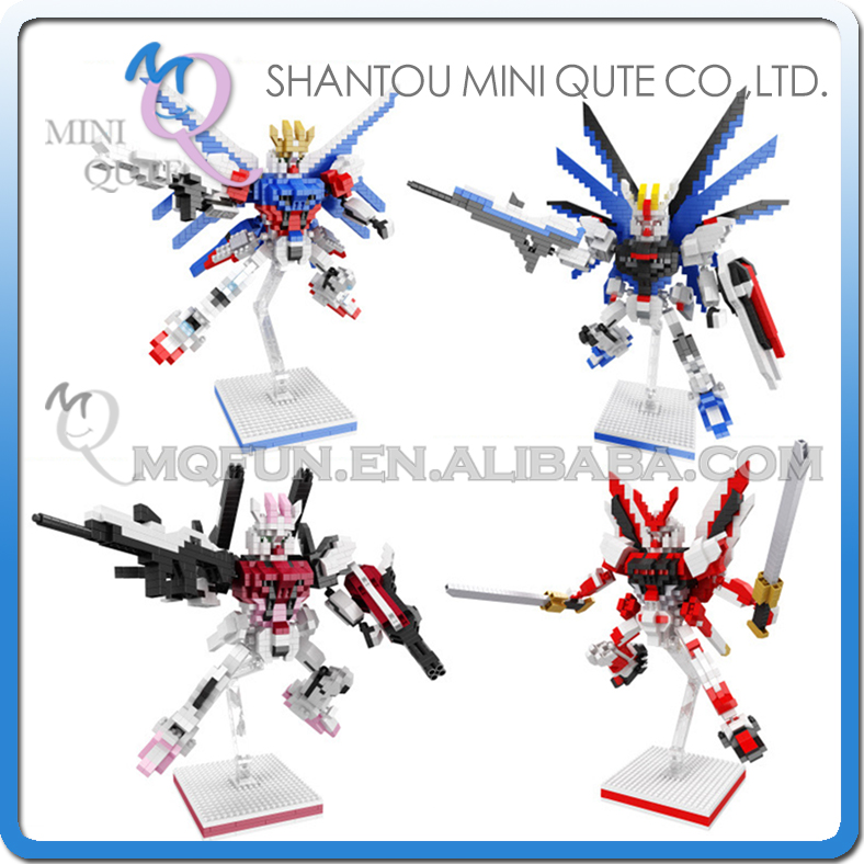Full set 4pcs/lot Mini Qute BALODY cartoon super hero robot Gundam building blocks brick action figures model educational toy mini qute full set 2 pcs lot hc zootopia huge nick wilde judy hopps plastic building block cartoon model educational toy no 9011
