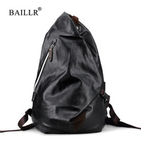 BAILLR Brand Mens Soft Pu Leather Backpack For Travel Casual Men Daypacks Leather Travle Backpack Mochila