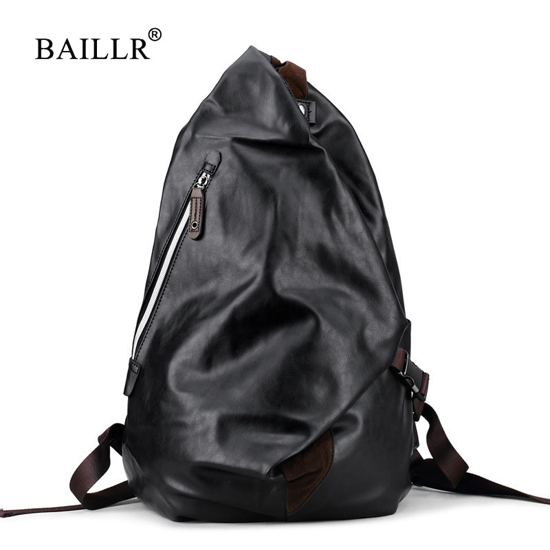 BAILLR Brand Mens soft pu Leather Backpack For Travel Casual Men Daypacks Leather Travle Backpack mochila Black School Backpacks ...