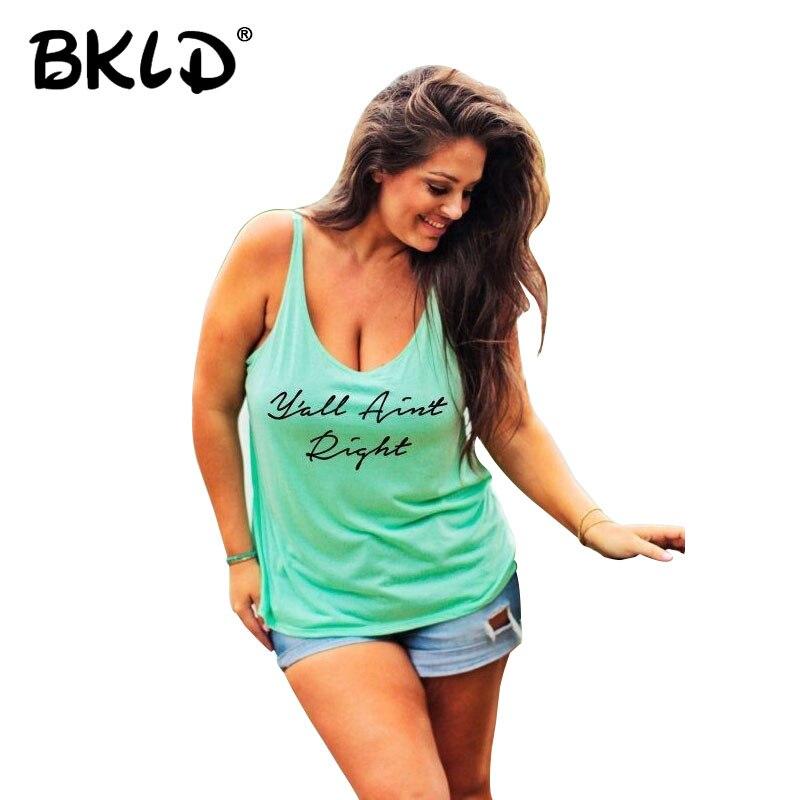 BKLD 5XL Plus Size Women Canotte 2018 di Nuovo Modo di Estate Lettera Stampata Senza Maniche In Cotone Casual Abbigliamento Donna Femininas Top