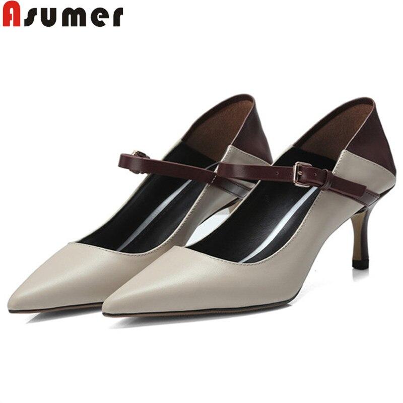 2019 tacco Woman Shoes donna nero beige Fashion Décolleté Asumer in pelle Office For alto Décolleté da Elegante 1xRHnfq