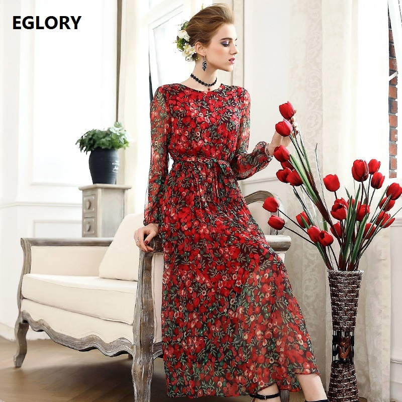 100%Real Silk Dress 2018 Spring Summer Women Red Blue Dress Digital Print Long Sleeve Big Swing Casual Party Tunic Dress Hot music note party swing dress