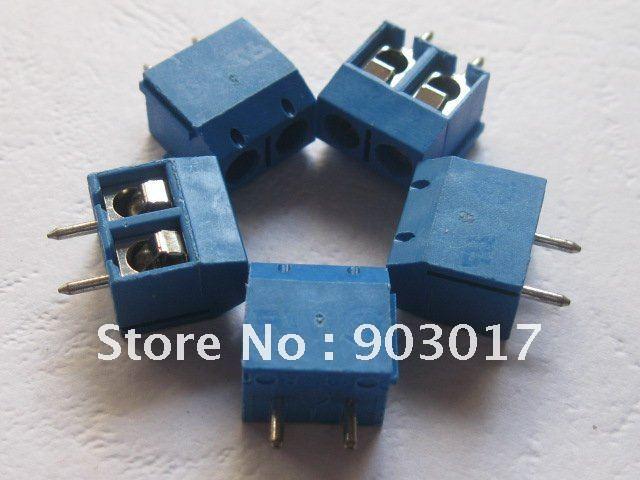 2Pin 5.0 мм клеммный блок Голубой разъем 20 шт. в партии Лидер продаж высокое качество