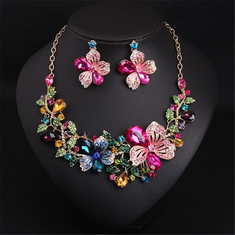 2018 New Bridal Jewelry Sets Austria Crystal Flower Necklace Earrings Sets for Women Wedding Party African Jewelry sets TB -G002 new fashion multicolor crystal exaggerated flower shape necklace and earrings sets for women party bridal wedding jewelry sets