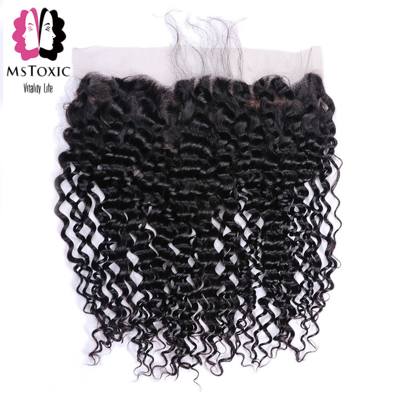 Mstoxic Hair Brazilian Deep Wave Frontal Free Part 100% Human Hair 13x4 Ear To Ear Lace Frontal Closure Natural Color No Remy