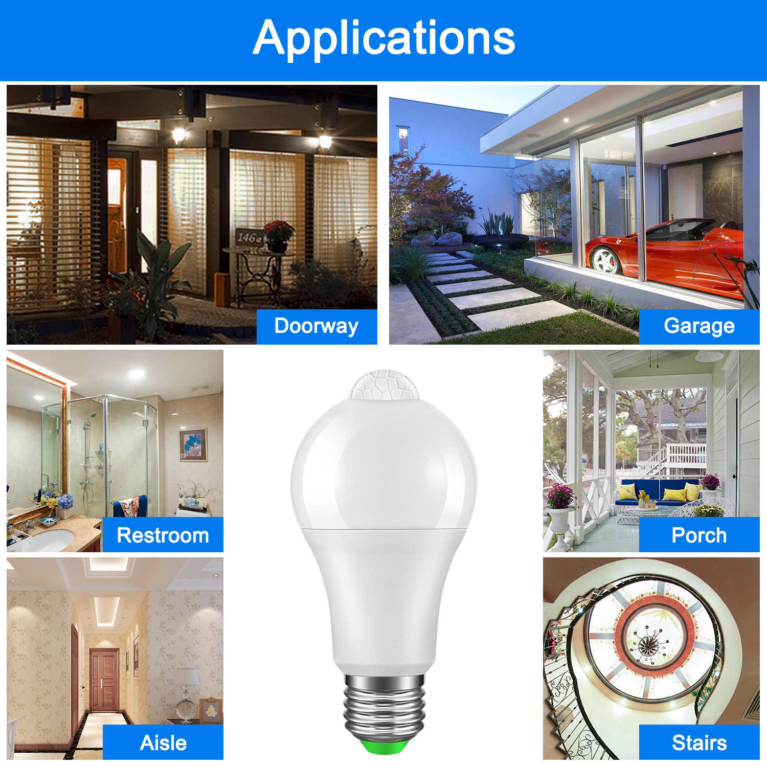 IP42 LED PIR Sensor Bulb E27 12W 18W AC 220V 110V Dusk to Dawn Light Bulb Day Night Light Motion Sensor Lamp for Home Lighting