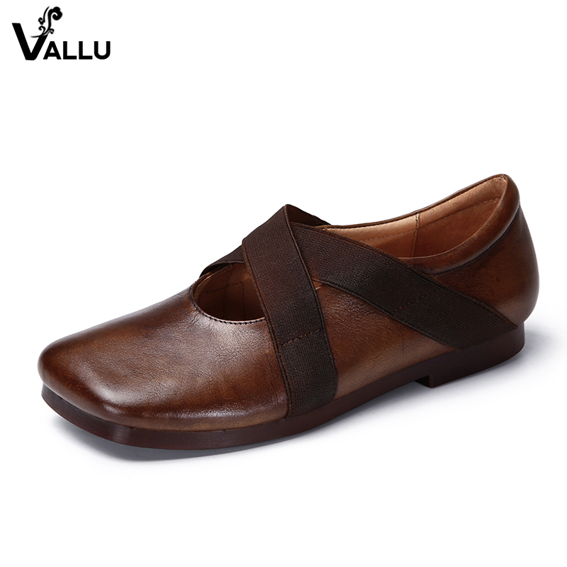 2018 VALLU Handmade Vintage Women Flats Genuine Leather Square Toes Elastic Slip On Driving Shoes Women Flat Shoes vallu spring summer women flats genuine leather pointed toes handmade original shoes basic women ballerina slip on flat shoes