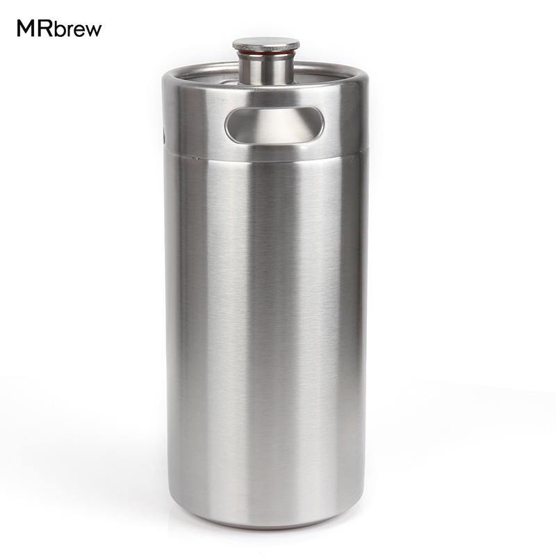 89104ab1069a 128 oz l acero inoxidable Growler-alta calidad 1 galón Mini barril estilo  Growler irrompible Homebrew Keg para barra de cerveza