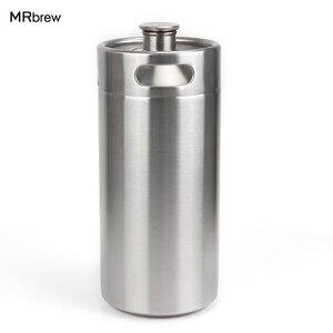 128oz 3.6L Stainless Steel Growler - High Quality 1 Gallon Mini Keg Style Growler Unbreakable Homebrew keg for beer bar