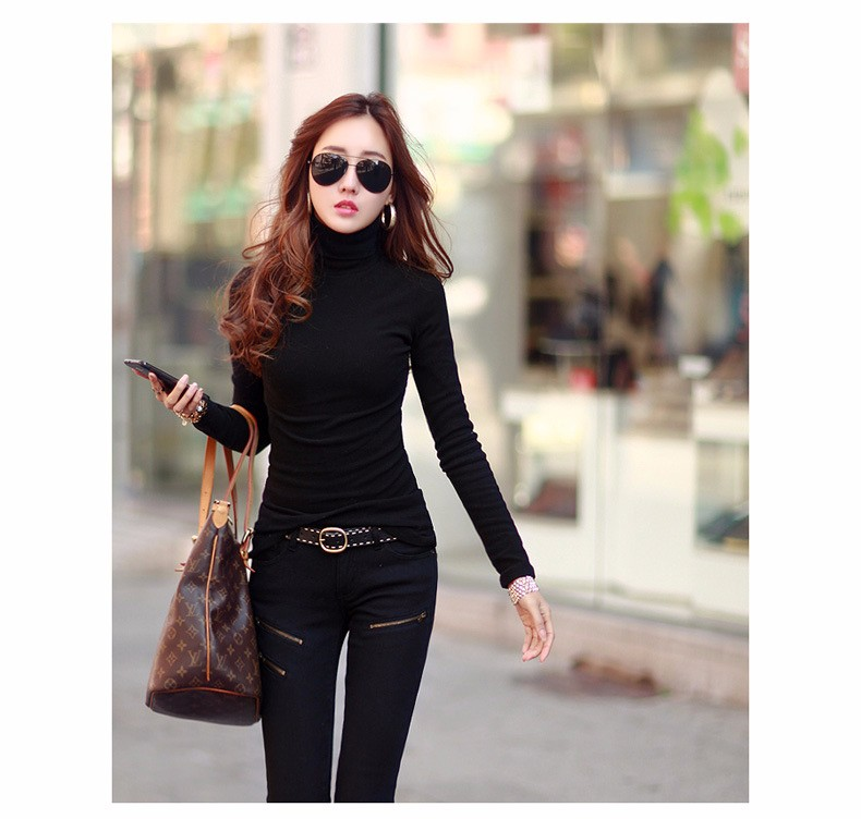 Spring Autumn Winter Fashion Turtleneck Tops Long Sleeve Cotton T Shirt Slim Casual t-shirt women 2016 Basic Tees Shirts A550 a