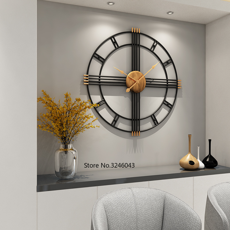 Simple wall clock European style wrought iron personality living room clocks creative fashion mute home modern