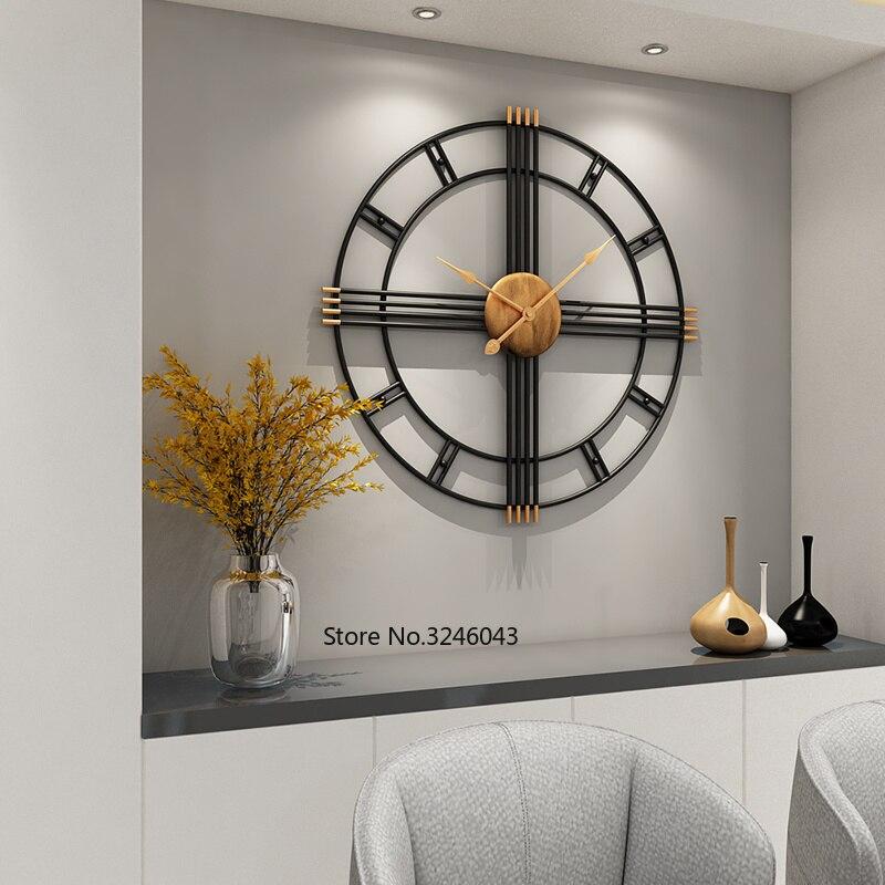 Horloge murale Simple style européen en fer forgé personnalité horloges de salon mode créative muet maison moderne horloge décorative