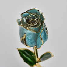 Novelty Rose 24k Gold Plated Flower Light Blue For Home Decoration Gift