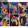 "HOMFUN Full Square/Round Drill 5D DIY Diamond Painting ""Colorful dog"" 3D Embroidery Cross Stitch 5D Home Decor Gift A01020"