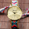 2016 Bracelet Wristwatch Ladies Bangle Dress Hand Woven Gold Dial Weave Strap Braided Gift Casual Girl Handmade Women Clock