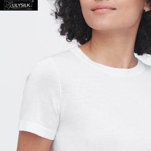 Image 5 - LilySilk Silk Knitted T shirt Soft Pure Natural white New Free Shipping