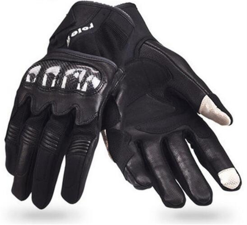 AMU Motorcycle Gloves Genuine Cow Leather Perforated Moto Protective Gear Motocross Motorbike Riding