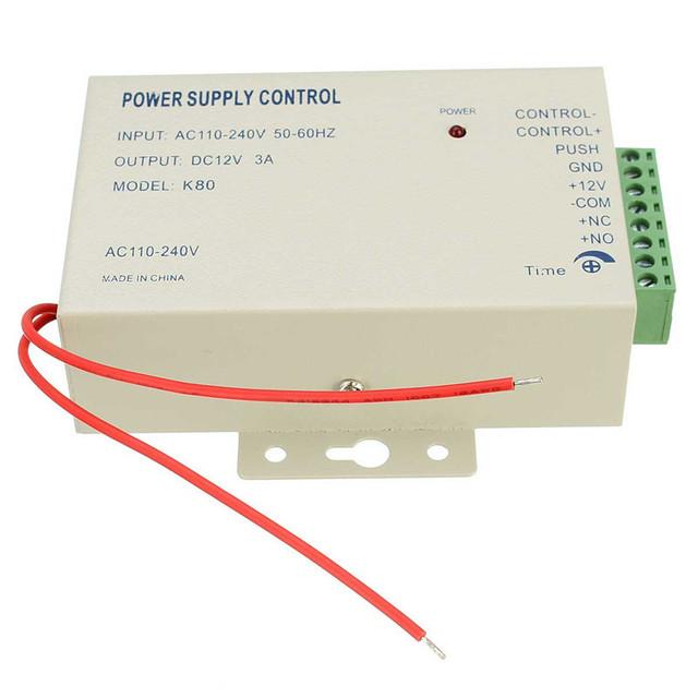 1 unids Sistema de Puerta de Control de Acceso Interruptor de Control fuente de Alimentación DC 12 V 3A/AC 110 ~ 240Val de Trabajo temperatura-20 ~ + 65 grados