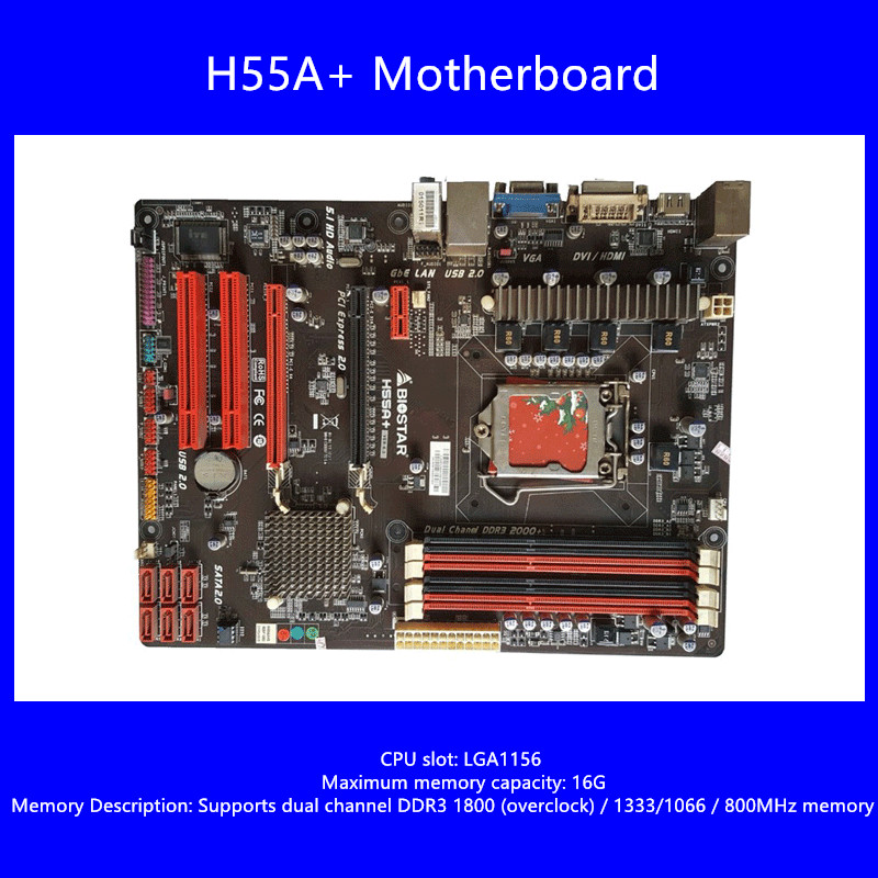 Free shipping original motherboard for Biostar H55A+ LGA 1156 DDR3 RAM 16G Boards H55 ATX Desktop 4*DDR3 DIMM Motherboard