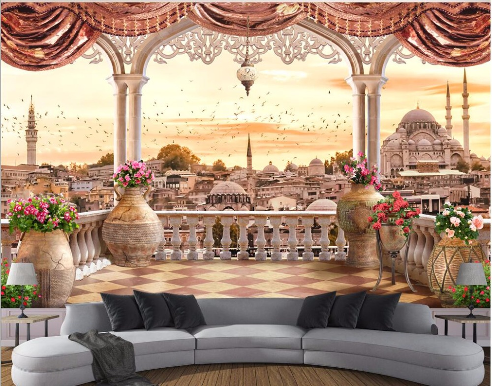 3d wallpaper The balcony Turkish TV setting wall scenery painting Custom mural photo 3d wall murals wallpaper for walls 3 d custom 3d photo wallpaper for walls 3 d wall murals wallpaper 3d european style white building palace living room tv wall paper
