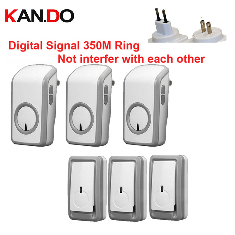 Euro/US plug bell kits w/ 3 emitters+3 receiver wireless doorbell Waterproof 380 Meter door chime door ring digital signal ring us 3 12