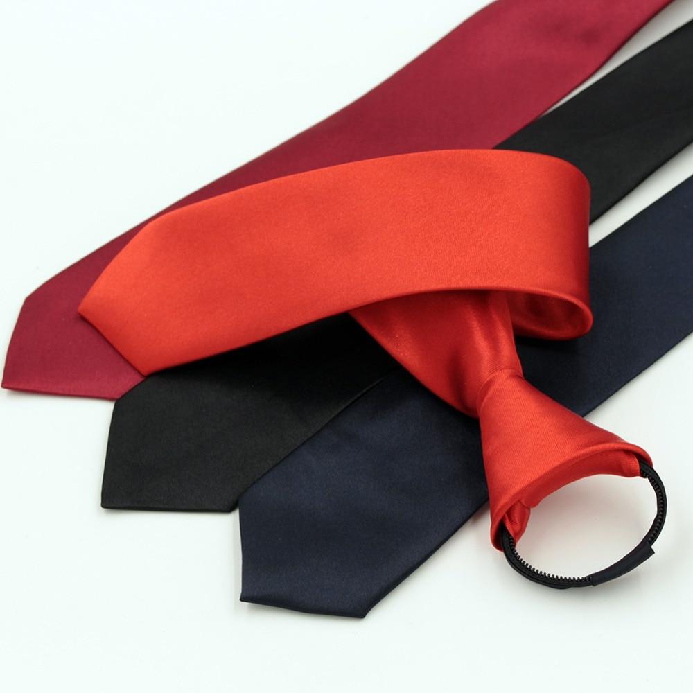 1 piece Pre-tied Shiny Students Zipper Ties For Men Boys Girls Slim Narrow Necktie Solid Red Black Navy Blue Color 5cm Width