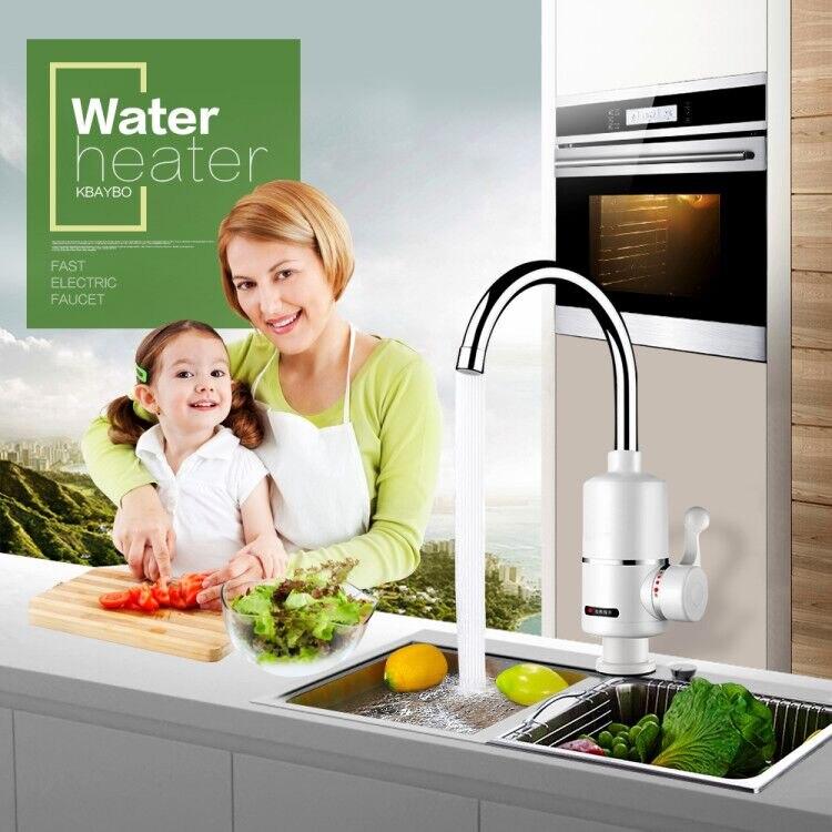 Мгновенный водонагреватель KBAYBO, устройство для мгновенного нагрева проточной воды с евро розеткой без резервуара