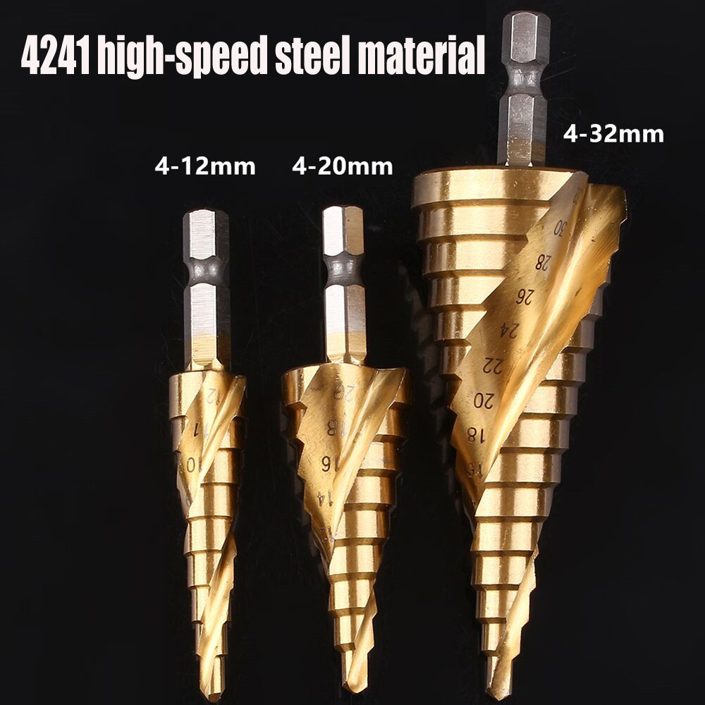 3/pcs 4-12/20/4-32mm Step Drill Bit HSS spiral grooved step Twist Set for Hole Cutter Metal Woodworking Bit tool spiral groove step drill golden 3 pcs imperial system