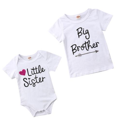 2018 Brand New Casual Pasgeboren Jongen Meisjes Zomer T-shirt Korte Mouwen Grote Broer Tops Zusje Romper Leuke Outfit 0-5 T Tegen Elke Prijs