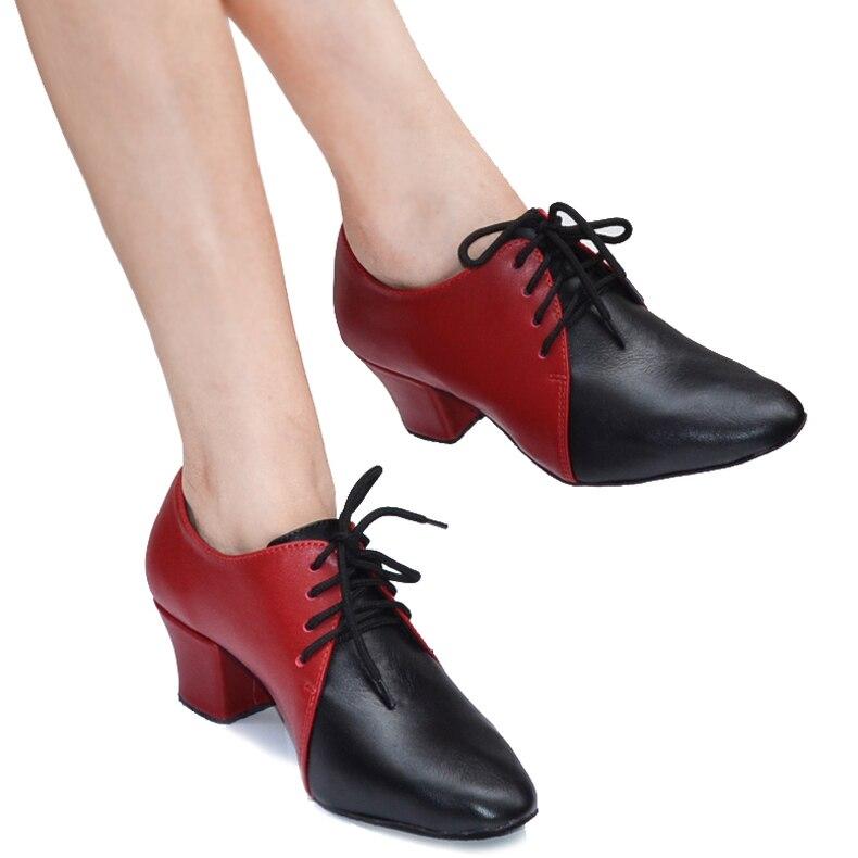 Chaussures femmes enseignants en cuir véritable chaussures de danse moderne en cuir de vachette chaussures de danse de salle de bal chaussures de danse de compagnie pour femmes 6404