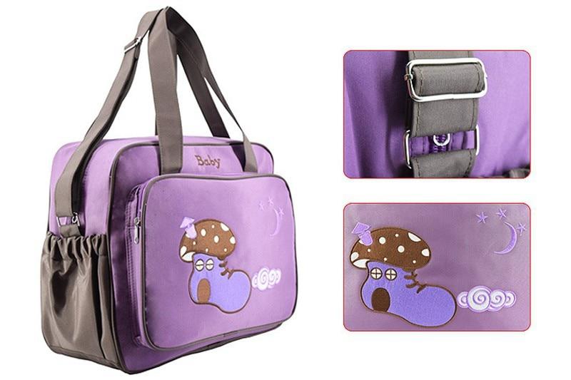 MOTOHOOD 4pcs Baby Diaper Bag Sets For Mom Maternity Baby Bag Organizer Bottle Bag + Nappy Map Cute Shoes Printing Nappy Bag (7)