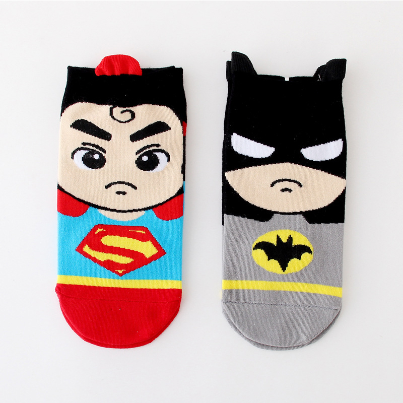 Super hero Cartoon old children socks girls Princess Short Socks kids Batman Socks men Captain America Cotton Boat Socks